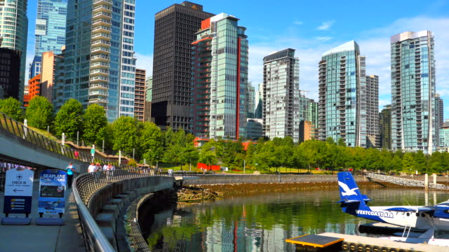 4K Waterfront Walkway with Condominiums in Background, Vancouver Canada video