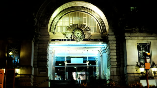 Waterloo Station entrance at night video