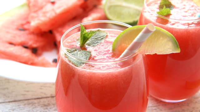 Watermelon drink in with fresh lime video