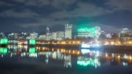 water,reflection,cityscape and skyline of portland. timelapse 4k video