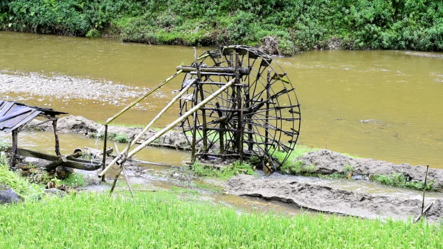 A waterwheel in a tribal village, constructed from Bamboo. video