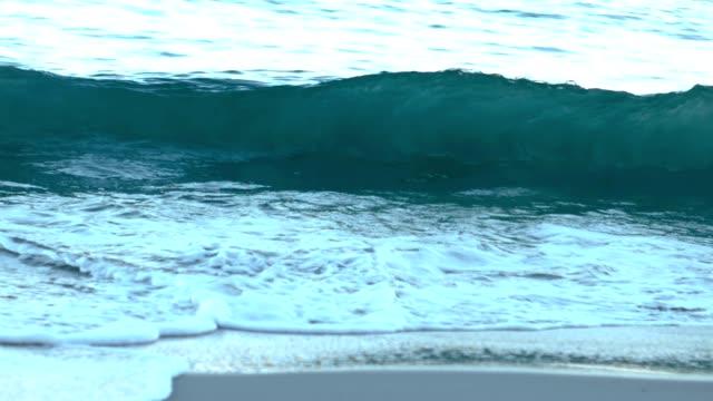 Wave crashing on the morning video
