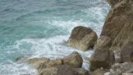 Wave on ocean with big stones video