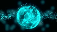 Wave Particles with glowing sphere. Seamless loop video