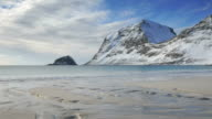 Waves at a winter beach in the Lofoten archipel, Norway video