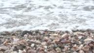 Waves Crash Over Shells on Beach video