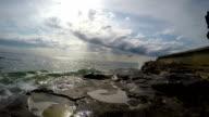 Waves Crashing on Rocky Beach video