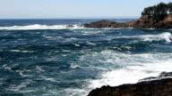 Waves Hitting Lava Headlands Newport Oregon With Splash video