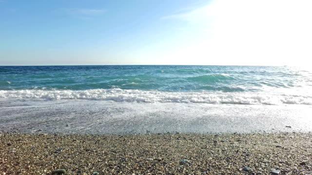 Waves on the beach in winter season video