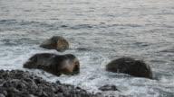 Waves splashing on a rock video