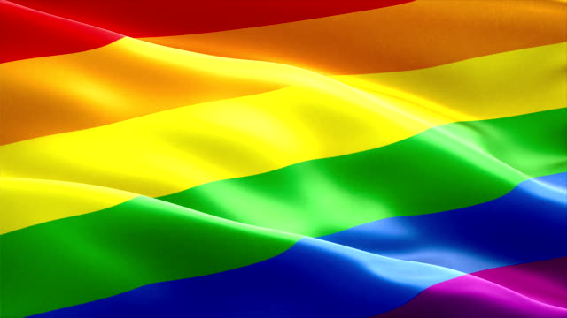 waving colorful of gay pride rainbow flag, civil right flag seamless looping 3D rendering, peace in the world video