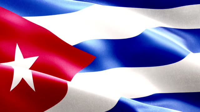 waving fabric texture of the flag of cuba, real texture color red blue and white of cuban flag, communist dictatorship video