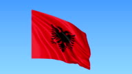 Waving flag of Albania, seamless loop. Exact size, blue background. Part of all countries set. FullHD video