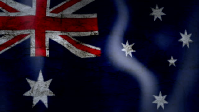 Waving Flag of Australia, grunge look video