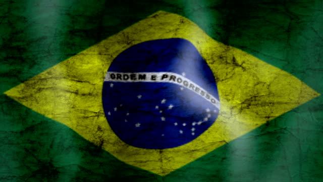 Waving Flag of Brazil, grunge look video