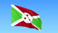 Waving flag of Burundi, seamless loop. Exact size, blue background. Part of all countries set. FullHD video