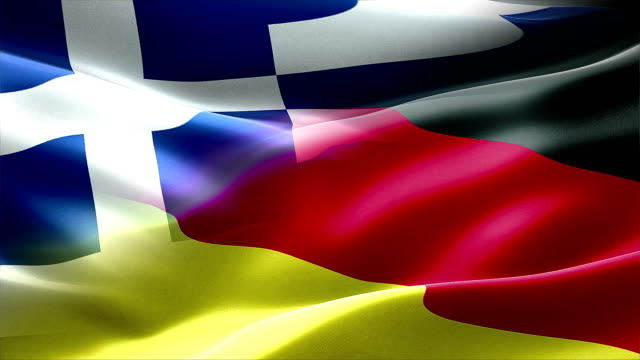 Waving flag of Germany and Greece, europe economy video