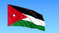 Waving flag of Jordan, seamless loop. Exact size, blue background. Part of all countries set. FullHD video