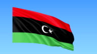 Waving flag of Libya, seamless loop. Exact size, blue background. Part of all countries set. FullHD video