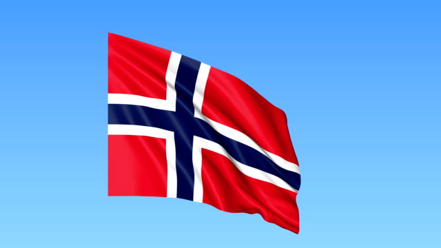 Waving flag of Norway, seamless loop. Exact size, blue background. Part of all countries set. FullHD video