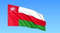 Waving flag of Oman, seamless loop. Exact size, blue background. Part of all countries set. FullHD video