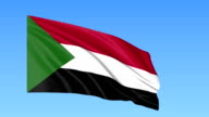 Waving flag of Sudan, seamless loop. Exact size, blue background. Part of all countries set. FullHD video