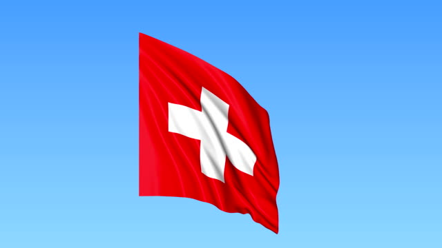 Waving flag of Switzerland, seamless loop. Exact size, blue background. Part of all countries set. FullHD video