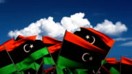 Waving Libyan Flags video