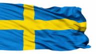 Waving national flag of Sweden video