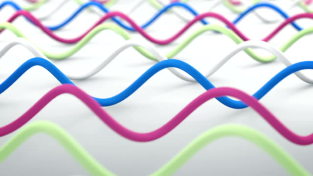 Wavy lines abstract 3D render animation seamless loop video