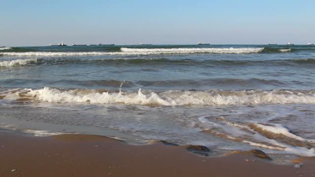 wavy sea at sunny day video