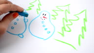 We draw snowmen and fir-trees video