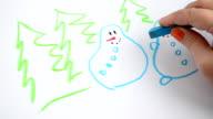 We draw snowmen and fir-trees video