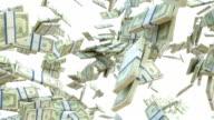 Wealth: dollar cash slow motion scattering on white. Alpha matte video