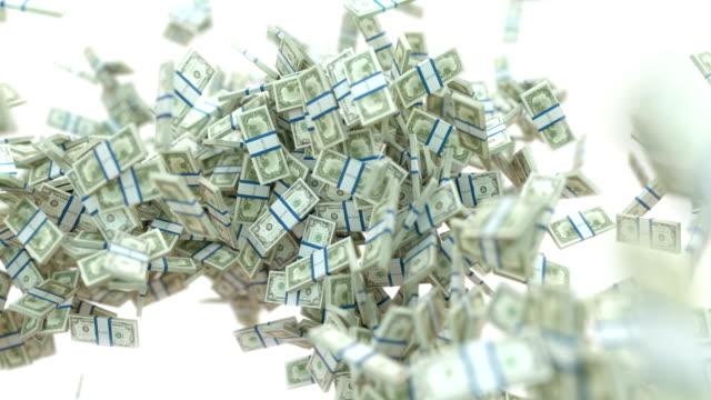Wealth: dollar cash vortex and scattering on white. Alpha matte video