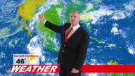 Weatherman in news studio giving weather forecast video