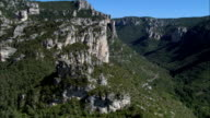 Weaving Around the High Rocks In the Gorges Du Tarn  - Aerial View - Midi-Pyrénées, Aveyron, Arrondissement de Millau, France video