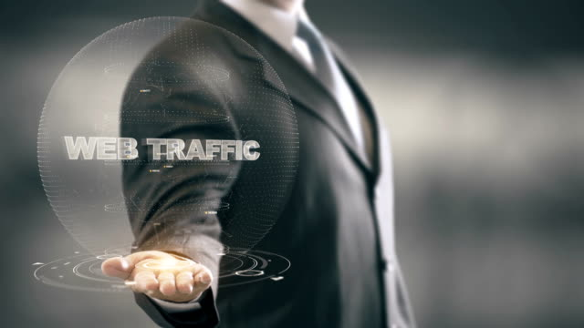 Web Traffic with hologram businessman concept video