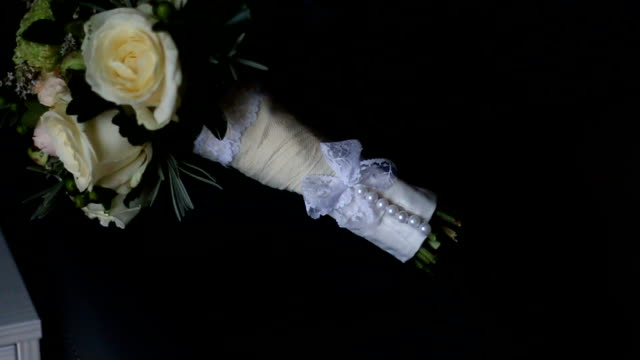 Wedding bouquet with white roses video