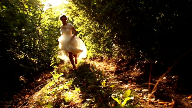 Wedding Bride Running in Forest Slow Motion HD video