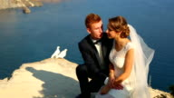 Wedding couple and white doves video