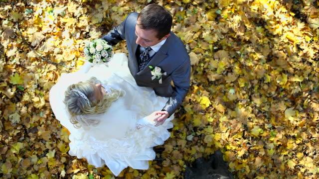 Wedding couple in an autumn park video