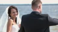 Wedding couple outdoors. video
