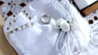 Wedding ring on the lace pillow video