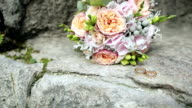 Wedding rings and wedding bouquet video