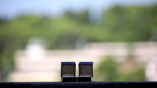 Wedding rings in the boxes on the balcony video