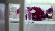 Wedding table decoration with flowers video