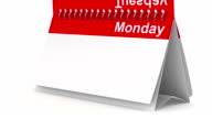 Weekly calendar on white background. 3D image render video