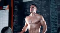 Weightlifter in gym video