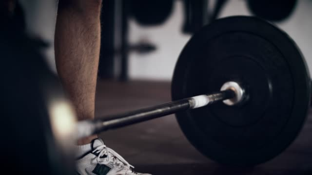 Weightlifting in gym, low section video